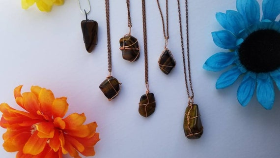 Tiger's Eye Copper Wrap Necklace | Reiki Infused Solar Plexus and sacral Chakra Crystal Jewelry |  Motivation and Success Intention