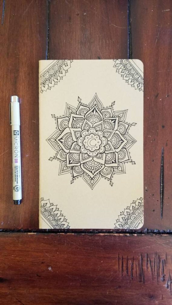 Magick Moon Mandala Hand-Drawn Design | 80 Page Blank Moleskine Journal | 5×8 1/4"