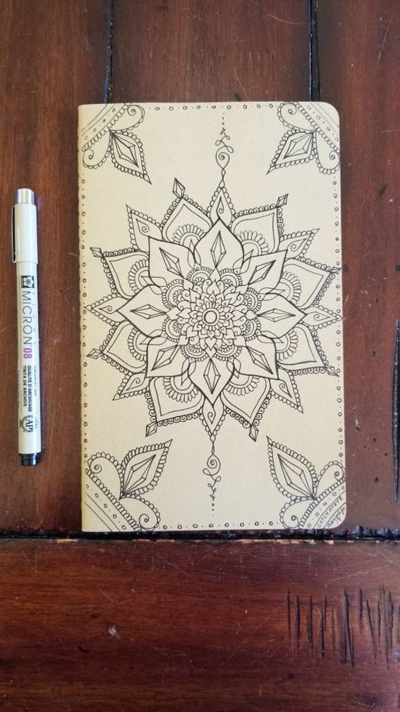 Crystal Divine Mandala Hand-Drawn Design | 80 Page Blank Moleskine Journal | 5×8 1/4"