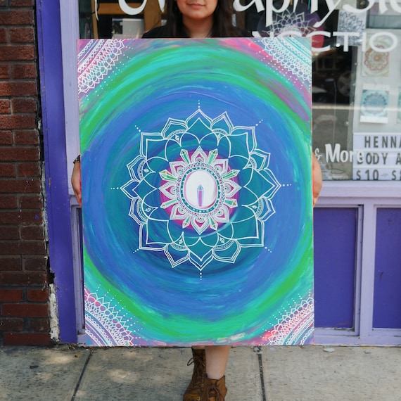 Neon Crystal Mandala Original Acrylic Painting 24x36"