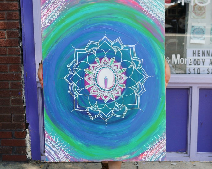 """Neon Crystal Mandala Original Acrylic Painting 24x36""""   Henna Inspired Reiki Blessed Artwork   Intuition, Expression, Communication Healing"""