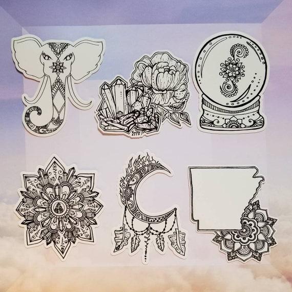 Six Pack Art Stickers | Waterproof Artwork Freehand Drawn Car Decal | Artist Print | Mandala & Henna Inspired | Elephant Peony Moon Crystal