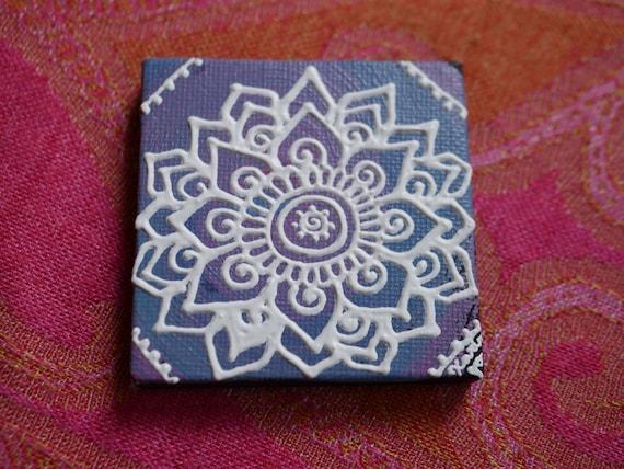 White Mandala on a Light Purple Swirl Mini Canvas | 2.5×2.5 Original Painting | Artwork Room Decor