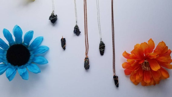 Carborundum Crystal Necklace | All 7 Chakra| Self Expression  & Intuition Intention | Hand Wrapped and Reiki Blessed Jewelry