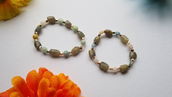 Labradorite, Morganite & Rose Gold Hematite Bracelets | Reiki Blessed Handmade Jewelry | Energy Balance and Healing Accessories |