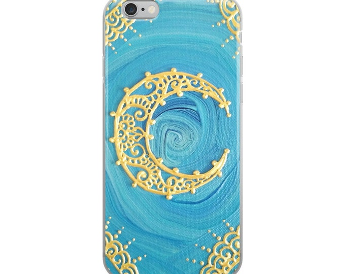 Extravagant Mind Gold Moon iPhone Case | Reiki Energy Artwork | Freehand mandala and henna inspired