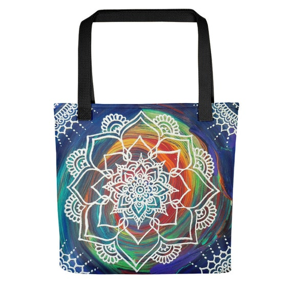 Color Splash Mandala Tote bag * Freehand Artwork Print
