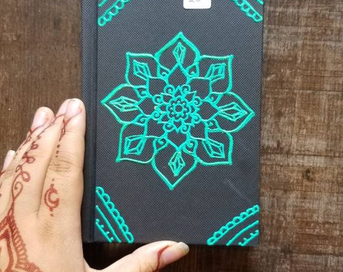 "Original Freehand Painted Crystal Mandala Sketchbook / Journal | 4×6"" 110 Page Hardcover | Turquoise  Artwork | Henna Inspired Design"