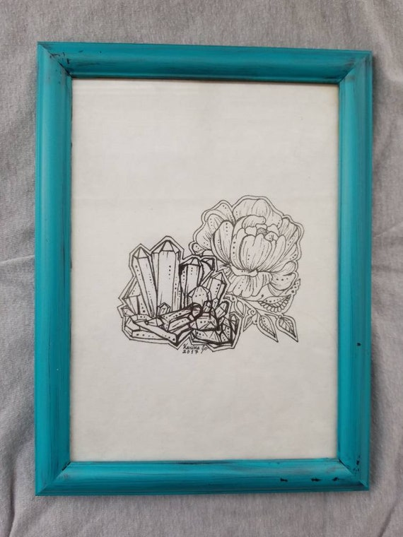 Crystal Peony Framed Original Artwork | 5×7 Freehand Pen and Ink Drawing | Room Decor | Floral Design