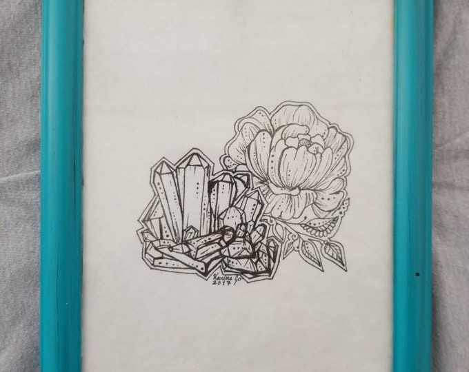 Crystal Peony Framed Original Artwork | 5×7 Freehand Pen and Ink Drawing | Room Decor | Floral Design