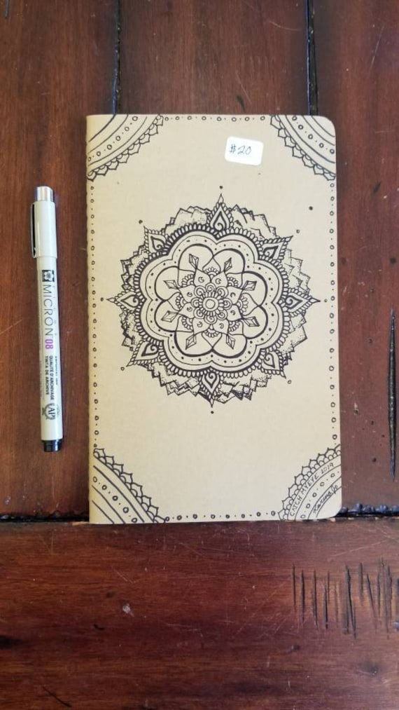 Crystal Mountain Mandala Hand-Drawn Design | 80 Page Blank Moleskine Journal | 5×8 1/4"