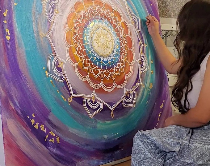 Commissioned Intention Mandala   A Complete Experience from Intention Session to Freehand Reiki Infused Intention Mandala Acrylic Painting