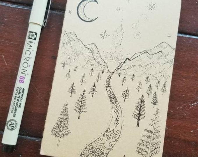 "Mountain Woodland Moon & Stars Hand-Drawn Design | 64 Page Blank Moleskine Journal | 3 1/2 x 5 1/2"" | Unique Henna Inspired Artwork Gift"