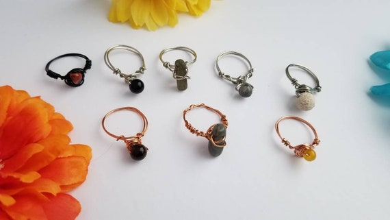 Size 10 Reiki Crystal Rings | Handmade Wire Wrapped Copper Ring with Stone Bead |