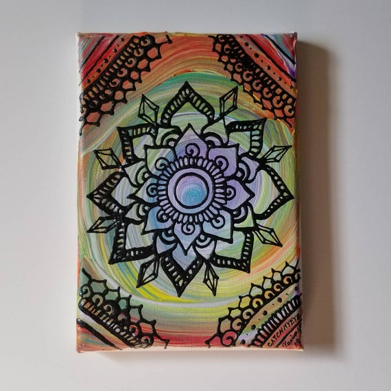 Be Bold Color Splash Mandala Original Acrylic Painting| 5×7 Original Canvas | multicolored Freehand Art | Home Decor| Reiki Blessed