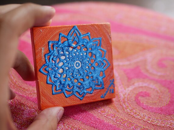 Cobalt Blue Mandala on an Orange and White Swirl Mini Canvas | 2.5×2.5 Original Painting | Artwork Room Decor