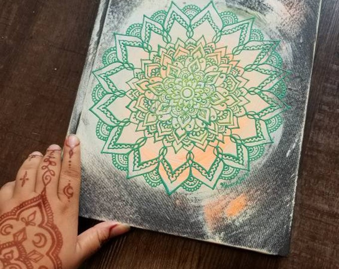 "Original Freehand Painted Green, Orange & Yellow Mandala Sketchbook/ Bullet Journal | 8.5×11"" 110 Page Hardcover | colorful  Artwork"