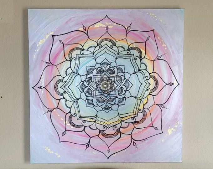 "Iridescent | 36x36"" Acrylic Painting | Reiki Art"