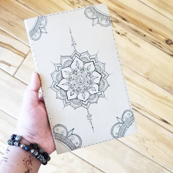 Crystal Moon Mandala Hand-Drawn Design | 80 Page Lined Moleskine Journal | 5×8 1/4"