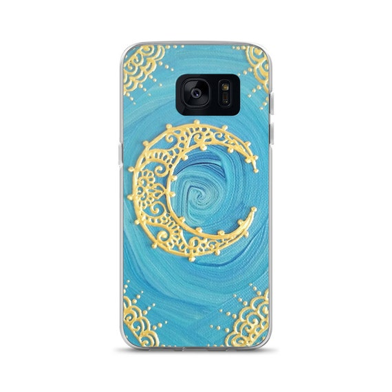 Extravagavt Mind Gold Moon Painting Samsung Phone Case | Reiki Energy Artwork | Freehand mandala and henna inspired