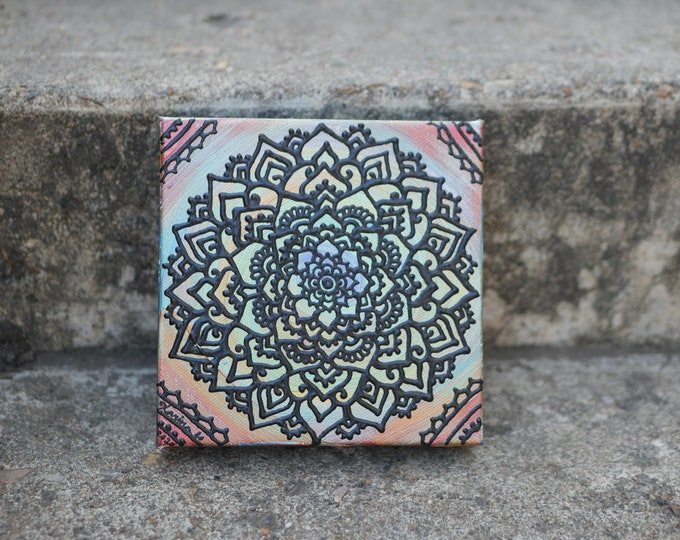 Bold Mind Original Acrylic Mandala Painting   Handdrawn Line Artwork   Rainbow Colorful Wall Art   Reiki Chakra Balance Art
