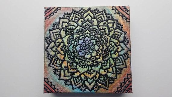 Bold Mind Original Acrylic Mandala Painting | Handdrawn Line Artwork | Rainbow Colorful Wall Art | Reiki Chakra Balance Art