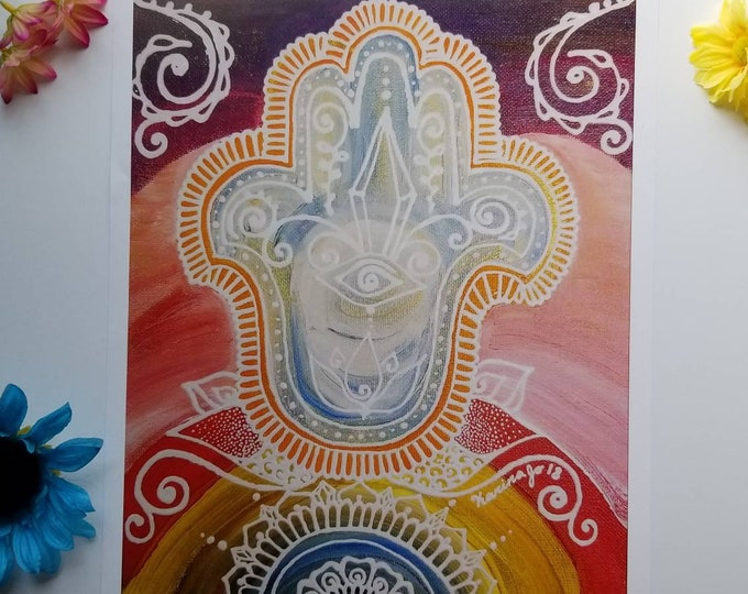 "Wanderlust Hamsa Art Print 12×15"" art 13×16"" w border |  Freehand Hamsa Poster Print l Art Print l Acrylic Painted Artwork"