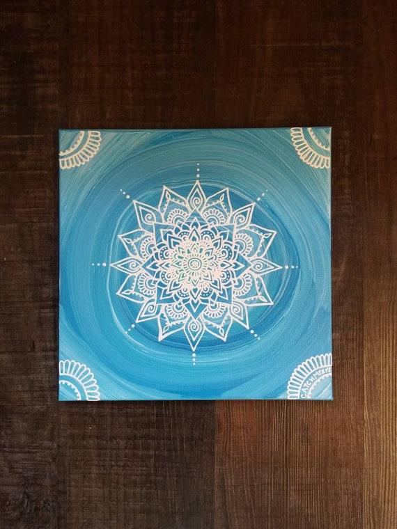 Throat Chakra Mandala | Intention Mandala Series | Reiki Charged Acrylic Painting | Home Decor | Sacred Space Art