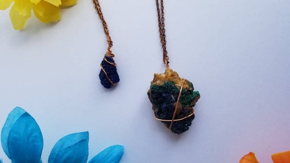 Azurite Copper Wrap Necklace | Reiki Infused Third Eye Crystal Jewelry | Creativity and Psychic Gifts Intention