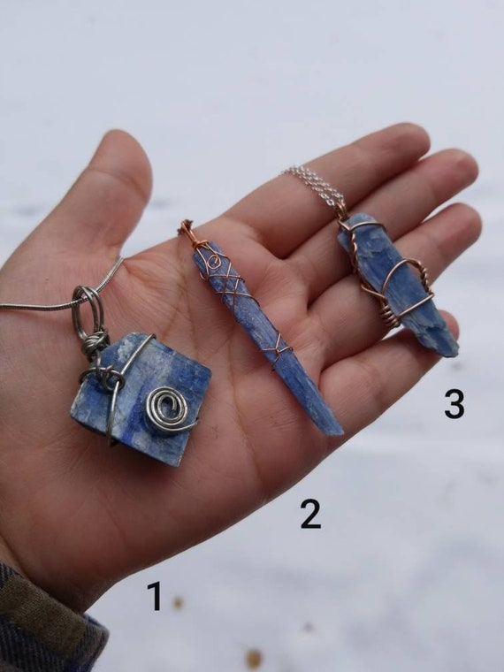 Blue Kyanite Crystal Necklace | Throat Chakra & Communication | Hand Wrapped and Reiki Blessed Jewelry