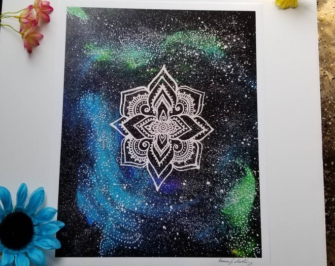 "The Galaxy Manadala Art Print 12×15"" art 13×15.5"" w border |  Freehand Mandala Poster Print l Art Print l Painted Artwork"