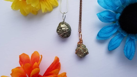 Pyrite Copper Wrap Necklace | Reiki Infused Solar Plexus Chakra Crystal Jewelry | Protection, abundance and luck Intention