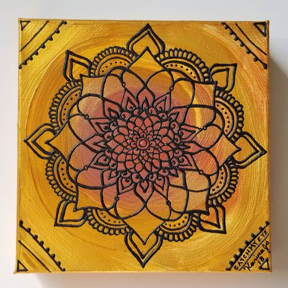 "Flame Mandala 6x6"" Original Painting 