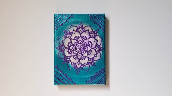 Purple Health Mandala Original Acrylic Painting| 5×7 Original Canvas | purple, and Blue Freehand Art | Home Decor| Reiki Blessed