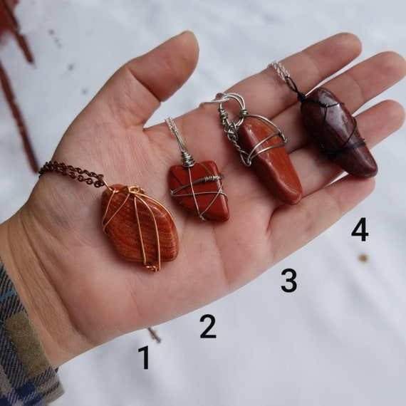 Red Jasper Crystal Necklace | Root Chakra| Grounding & Strength Intention | Hand Wrapped and Reiki Blessed Jewelry