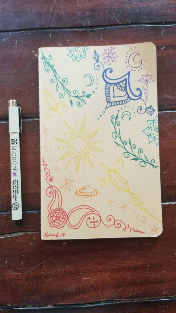 """Chakra Crystal Moon Spaceship Sun & Rose Hand-Drawn Design 