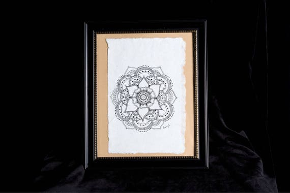 Destiny's Mandala | 8x10 framed originl pen and ink drawing | Handmade Gift | Freehand drawn Decor | henna style artwork