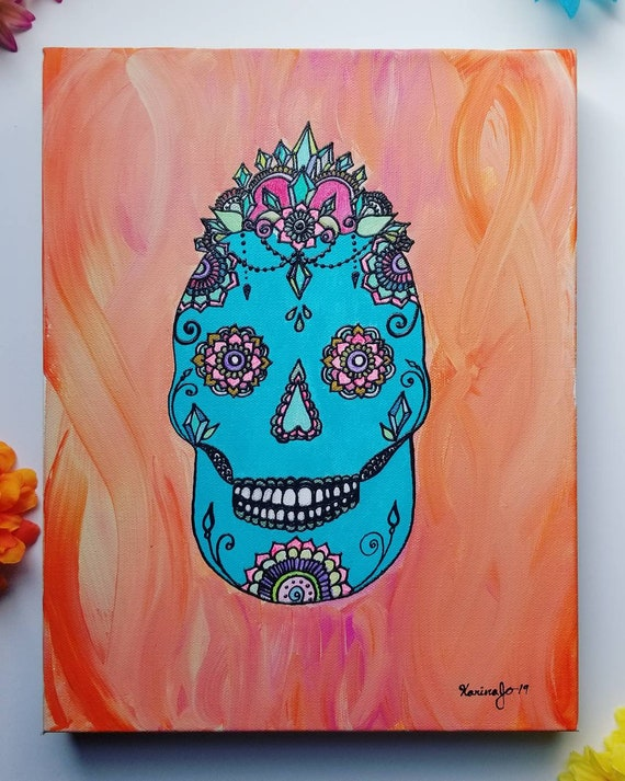Crystal Empress Sugar Skull Original Acrylic Painting| 11×14 Original Canvas | pink & blue Freehand Art | Home Decor| Reiki Blessed