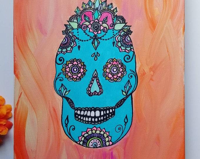 Crystal Empress Sugar Skull Original Acrylic Painting  11×14 Original Canvas   pink & blue Freehand Art   Home Decor  Reiki Blessed