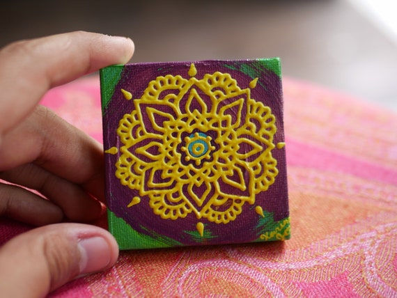 Yellow Mandala on a purple, green, and teal swirl Mini Canvas | 2.5×2.5 Original Painting | Artwork Room Decor