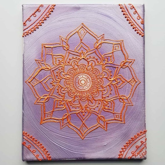 Inner Growth Solstice Mandala Original Acrylic Painting| 8x10 Original Canvas | Purple & Orange Freehand Art | Home Decor| Reiki Blessed