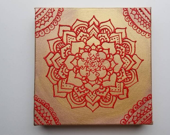 Ground & Blossom Original 8x8 Acrylic Painting   Freehand Reiki Energy Artwork   Red Home and Office Decor