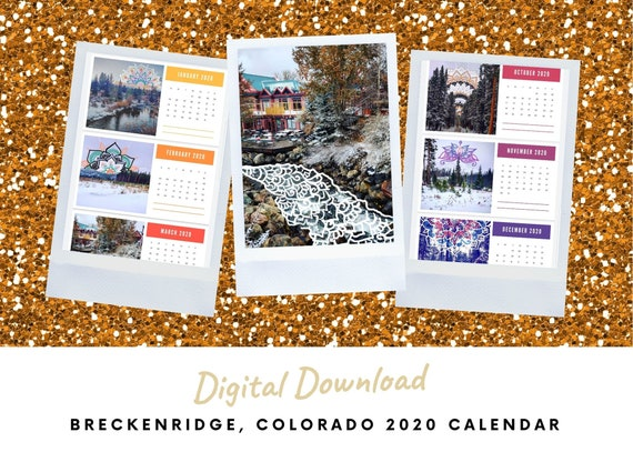 Wanderlust Breckenridge 2020 Calendar | Digital Download | Printable PDF | Scenic Photography & Mandala Artwork | Reiki Infused | Colorado