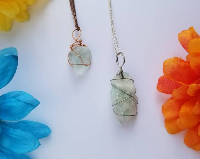 Fluorite Crystal Necklace   Crown & Heart Chakra  Stress Relief   Calming   Hand Wrapped and Reiki Blessed Jewelry