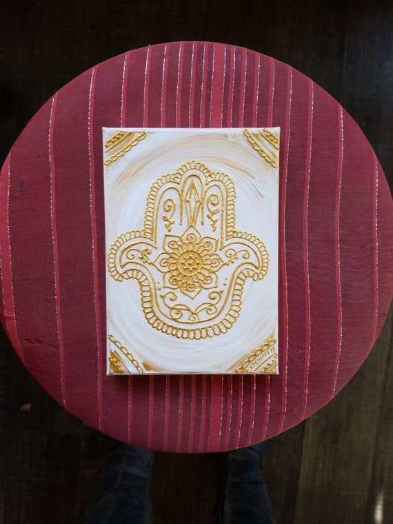 Golden Frost Crystal Hamsa Original Acrylic Painting| 5×7 Original Canvas | White, and Gold Freehand Art | Home Decor