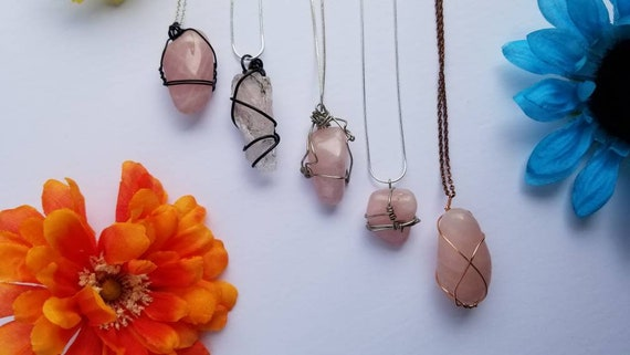 Rose Quartz Crystal Necklace | Heart Chakra| Unconditional, Romantic & Self Love Intention | Hand Wrapped and Reiki Blessed Jewelry