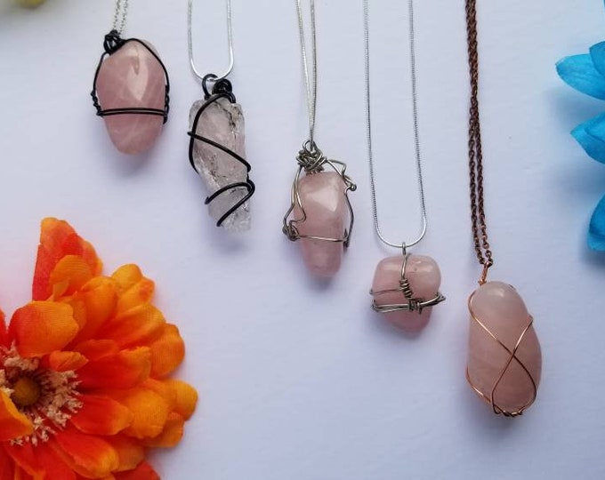 Rose Quartz Crystal Necklace   Heart Chakra  Unconditional, Romantic & Self Love Intention   Hand Wrapped and Reiki Blessed Jewelry