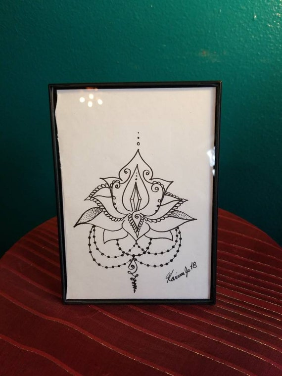 Crystal Lotus Original Pen & Ink Drawing 5×7"