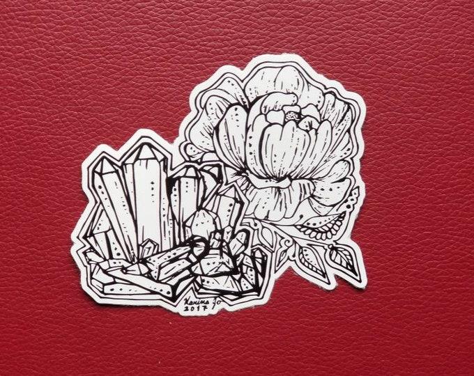 Crystal Cluster Peony Sticker   Art Freehand Drawn Car Decal   Artist Print   Mandala & Henna Inspired