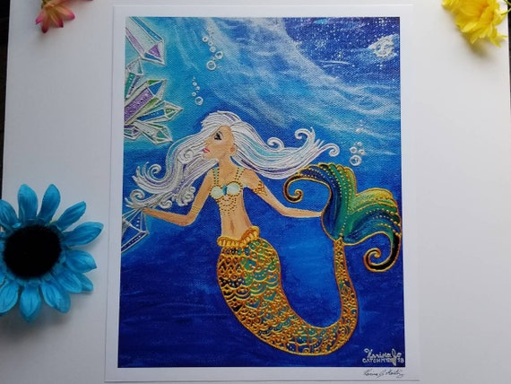 Crystal Mermaid Poster Print l 11×13.5 art 12×14 w border |Acrylic Painting Art Print l Dorm Decor l Art Print l  Ocean Blue l Moon & Sea